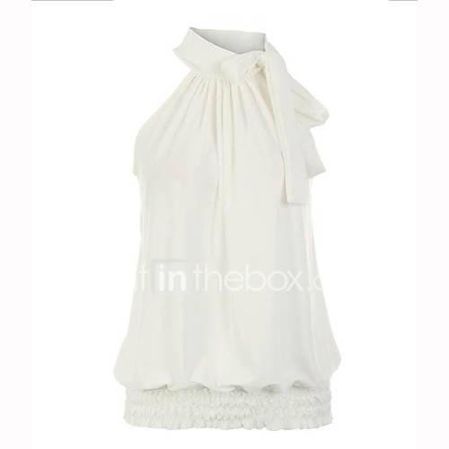 vrouwen-grote-maten-street-chic-zomer-blouse-casual-dagelijks-effen-strakke-ronde-hals-mouwloos-wit-zwart-groen-polyester-medium