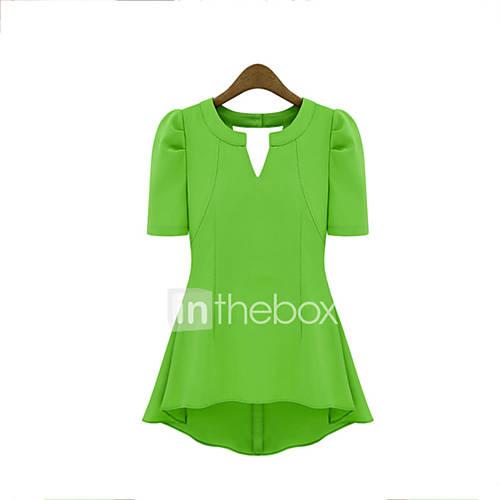 Vrouwen Street chic Zomer T-shirt,Casual/Dagelijks Effen Diepe V-hals Korte mouw Rood / Zwart / Groen / Geel Polyester Medium