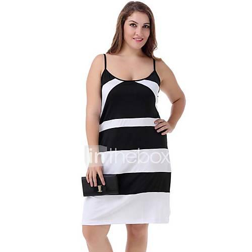 vrouwen-casual-dagelijks-grote-maten-street-chic-jurk-kleurenblok-bandje-tot-de-knie-mouwloos-wit-polyester-nylon-zomer