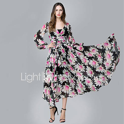 dames-strand-boho-chiffon-wijd-uitlopend-jurk-bloemen-diepe-v-hals-maxi-lange-mouw-rood-polyester-lente-zomer-hoge-taille-micro-elastisch