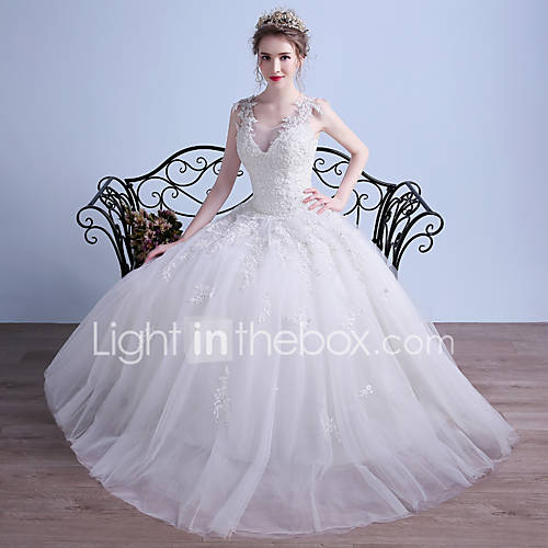 Ball Gown Wedding Dress Floor Length V Neck Tulle With Appliques Beading 5096046 2016 14999
