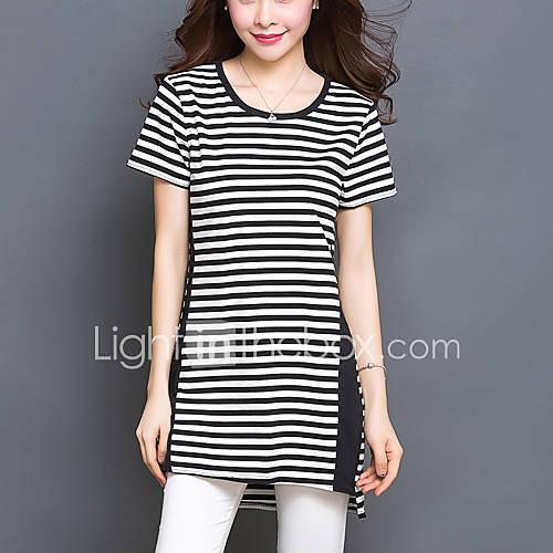 vrouwen-grote-maten-eenvoudig-zomer-t-shirt-casual-dagelijks-gestreept-ronde-hals-korte-mouw-zwart-katoen-spandex-dun