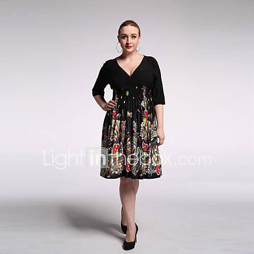 vrouwen-strand-grote-maten-vintage-boho-wijd-uitlopend-jurk-print-v-hals-tot-de-knie-driekwart-mouw-zwart-rayon-polyester-zomer