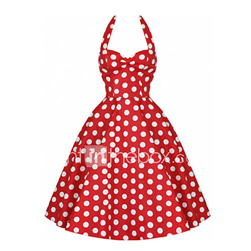 vrouwen-feestjecocktail-vintage-schattig-grote-maten-a-lijn-skater-jurk-polka-dot-halter-boven-de-knie-mouwloos-blauw-rood