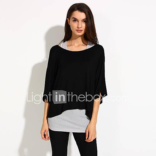 vrouwen-eenvoudig-zomer-blouse-casual-dagelijks-effen-wijde-boothals-halflange-mouw-blauw-zwart-grijs-katoen-overige-dun