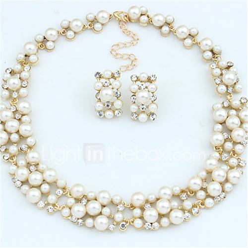 Joyas Collares / Pendientes Collar / pendientes De Moda Boda / Fiesta / Diario / Casual 1 Set Mujer Dorado Regalos de boda Lightinthebox