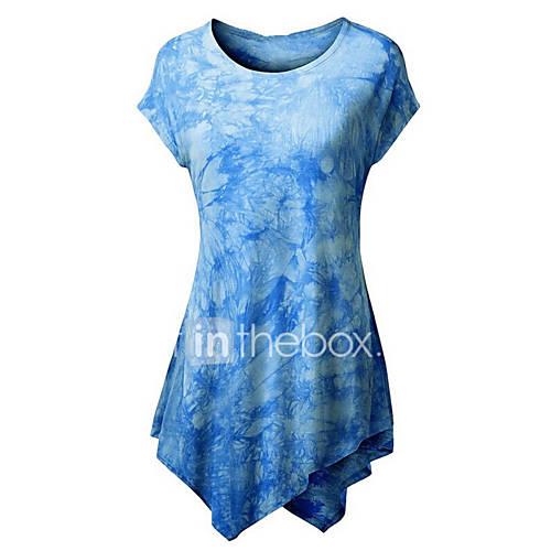 Vrouwen Street chic Zomer T-shirt,Uitgaan Kleurenblok Ronde hals Korte mouw Blauw / Roze / Rood / Zwart / Geel Polyester Medium