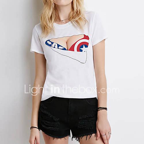 Vrouwen Sexy Zomer T-shirt,Club Print Ronde hals Korte mouw Wit Katoen / Polyester Dun