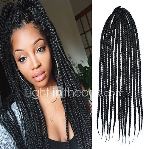 Black Senegal Crochet Twist Large Box Braid 24 inch Kanekalon 3 Strand ...