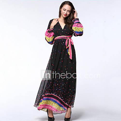 vrouwen-strand-grote-maten-boho-chiffon-jurk-polka-dot-diepe-v-hals-maxi-lange-mouw-zwart-polyester-zomer