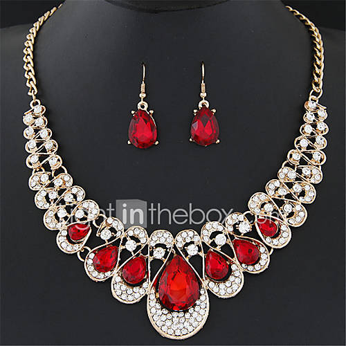 Joyas Collares / Pendientes Collar / pendientes De Moda Boda / Fiesta 1 Set Mujer Negro / Blanco / Rojo / Azul / Champaña Regalos de boda Lightinthebox