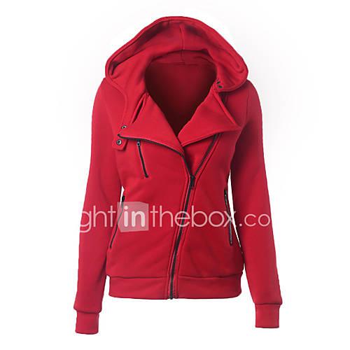 Sudaderas con capucha De las mujeres Casual/Diario Simple,Un Color Rosa / Rojo / Blanco / Negro / Gris / Verde / Amarillo Poliéster Descuento en Lightinthebox