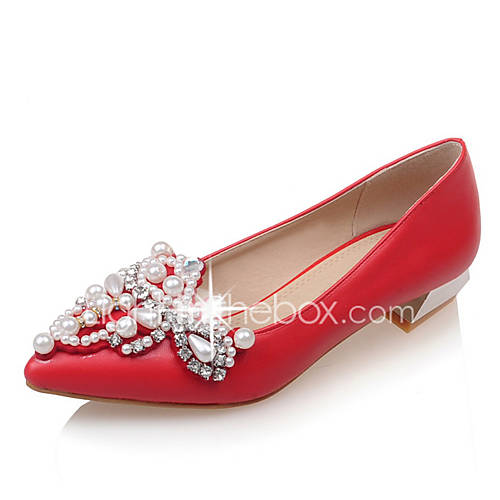 Womens Shoes Leatherette Low Heel Basic Pump Pointed Toe Flats Wedding Shoes Dress Black Red
