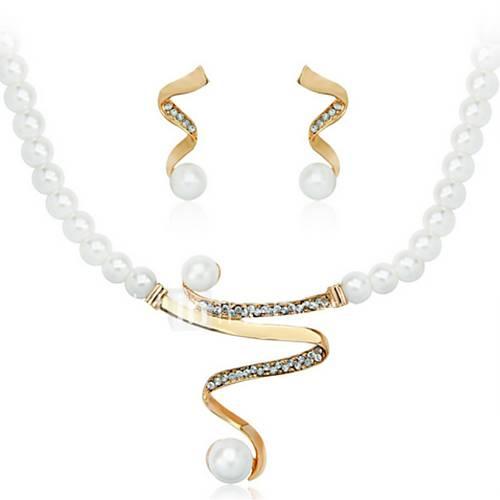 Joyas Collares / Pendientes Collar / pendientes De Moda Boda 1 Set Mujer Dorado / Plateado Regalos de boda Descuento en Lightinthebox