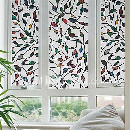 Anti Static Glass : Contemporary d colorful leave pattern anti static window