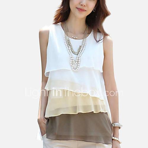 vrouwen-eenvoudig-street-chic-zomer-blouse-casual-dagelijks-patchwork-ronde-hals-mouwloos-grijs-groen-geel-polyester-dun