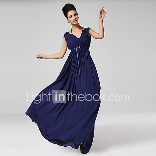 vrouwen-feestjecocktail-sexy-a-lijn-chiffon-jurk-effen-v-hals-maxi-mouwloos-blauw-zijde-katoen-alle-seizoenen
