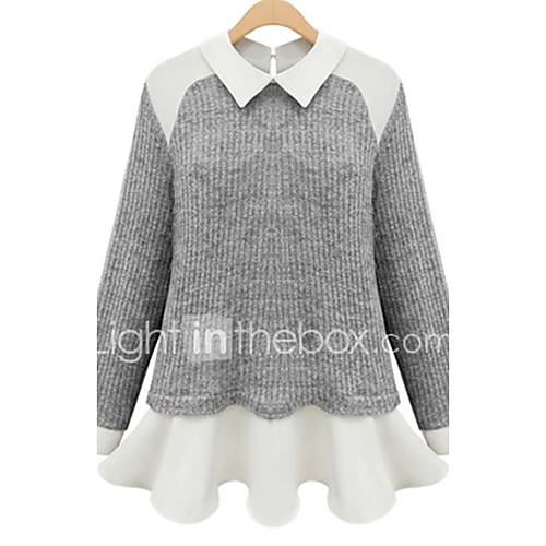 dames-casual-dagelijks-eenvoudig-normaal-vest-patchwork-wit-grijs-overhemdkraag-lange-mouw-acryl-herfst-medium-micro-elastisch