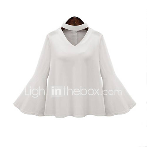 vrouwen-grote-maten-lente-blouse-casual-dagelijks-effen-v-hals-lange-mouw-wit-zwart-polyester-medium