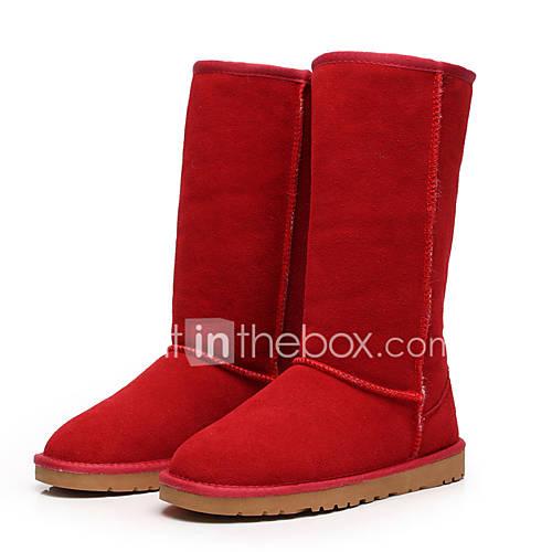 Mujer-Tacón Plano-Botas de Nieve / Botas a la Moda-Botas-Exterior / Casual-Cuero / Ante-Negro / Marrón / Amarillo / Rojo / Gris / Beige Descuento en Lightinthebox