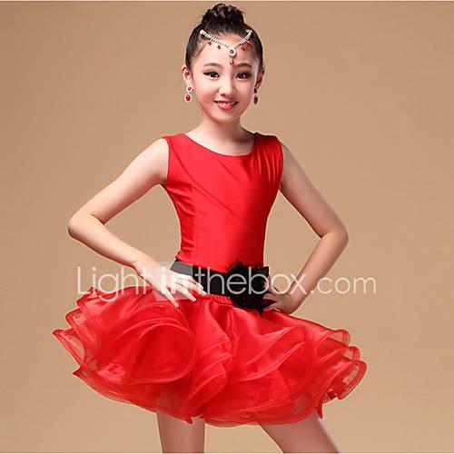 danca-latina-vestidos-criancas-actuacao-nailon-organza-faixatiras-3-pecas-sem-mangas-natural-vestidos-cinto-shortss54-m57-l60-xl63
