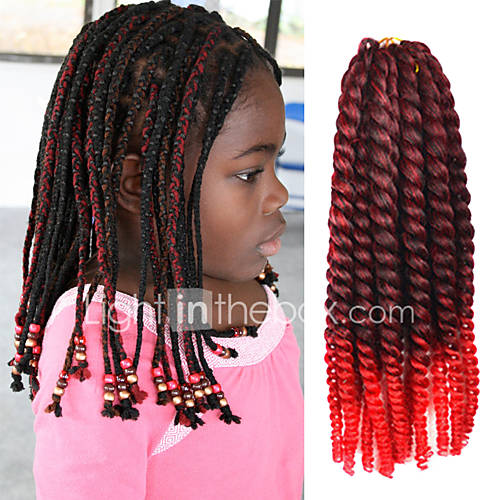 Black Ombre Red 12 Kids Kanekalon Synthetic 2X Havana Mambo Twist ...