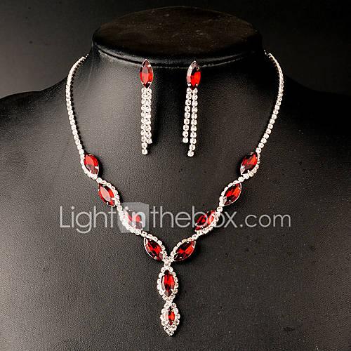 Joyas Collares / Pendientes Cristal / rubíes de imitación / imitación de la esmeralda Boda Brillante 1 Set Mujer Rojo / VerdeRegalos de Descuento en Lightinthebox