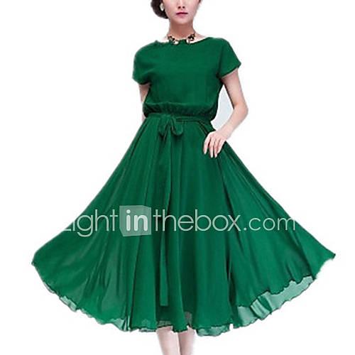 vrouwen-uitgaan-eenvoudig-grote-maten-chiffon-wijd-uitlopend-jurk-effen-ronde-hals-midi-mouwloos-zwart-groen-polyester-zomer