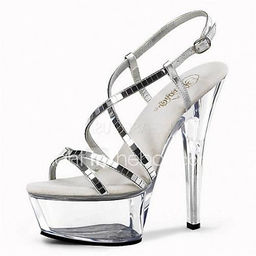 Women's Shoes Glitter Spring / Summer Light Up Shoes / Club Shoes Heels / Sandals Stiletto Heel / Platform / Crystal Heel Sequin / Buckle