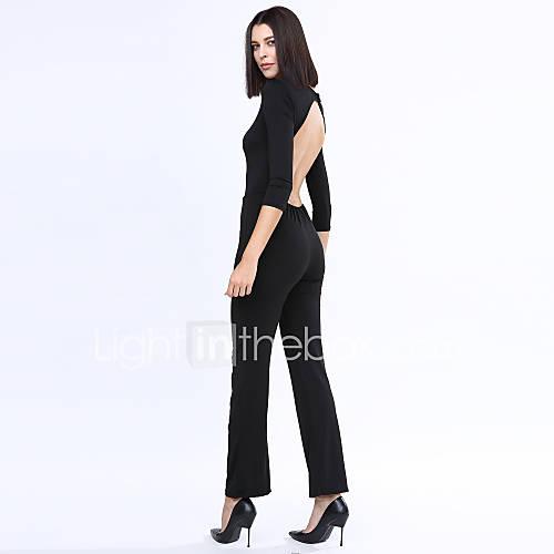 femme ample droite combinaison pantalon sexy vintage soir e cocktail couleur pleine dos nu col. Black Bedroom Furniture Sets. Home Design Ideas