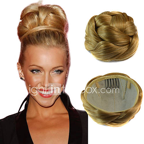 Wedding Hairstyle With Hair Extensions: Wedding Bridal Updo Chignon Bun Clips Synthetic Straight