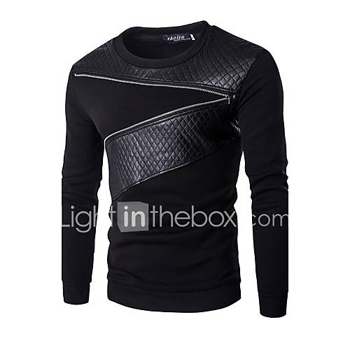 Men's Patchwork Casual / Sport Hoodie  SweatshirtCotton Long Sleeve Black / Gray