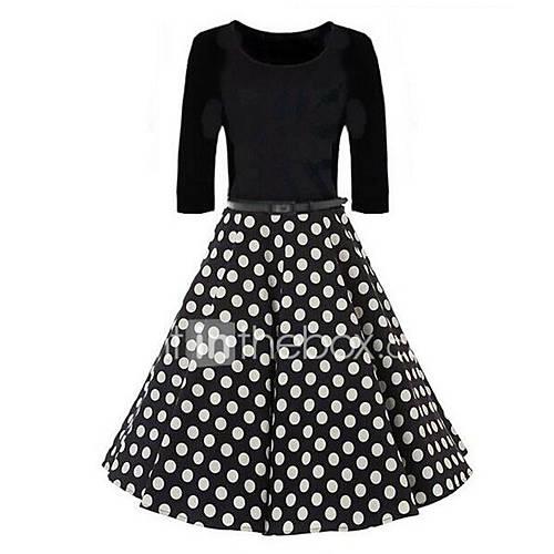 vrouwen-uitgaan-vintage-street-chic-schede-wijd-uitlopend-jurk-polka-dot-ronde-hals-boven-de-knie-driekwart-mouw-zwart-polyester-lente
