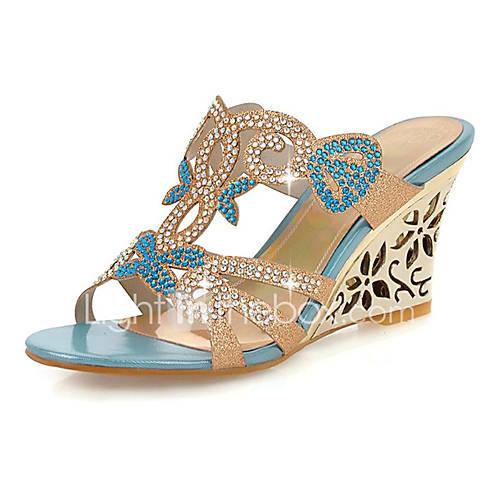 Mujer-Tacón Cuña-Cuñas / Tacones / Punta Abierta / ZapatillasExterior / Vestido / Casual-Sintético-Azul / Oro