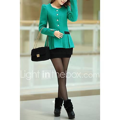 vrouwen-eenvoudig-street-chic-herfst-trenchcoat-uitgaan-casual-dagelijks-ronde-hals-lange-mouw-blauw-groen-effen-medium-wol