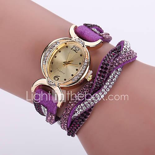 banda de cuero cristalina del estilo bohemio caso análogo blanco de cuarzo reloj de pulsera de moda de las mujeres Descuento en Lightinthebox
