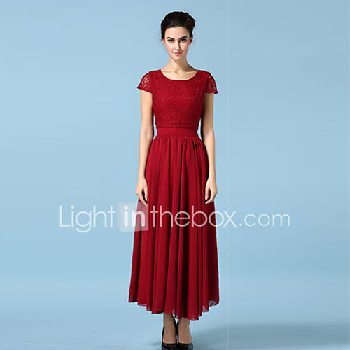 vrouwen-feestjecocktail-boho-kant-chiffon-jurk-effen-ronde-hals-maxi-mouwloos-blauw-rood-wit-groen-katoen-polyester-alle