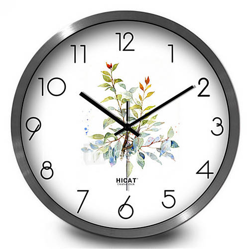 fresh garden leaves bedroom living room decorative metal mute quartz wall clock 5060180 2016. Black Bedroom Furniture Sets. Home Design Ideas