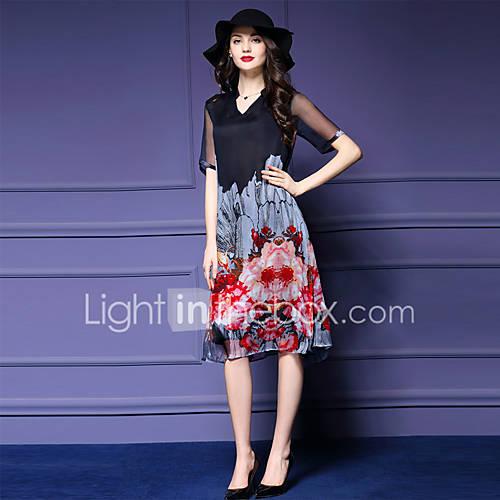 mulheres-saindo-plus-size-um-vestido-de-linha-v-pescoco-na-altura-do-joelho-floral-manga-comprimento-red-poliester-preto
