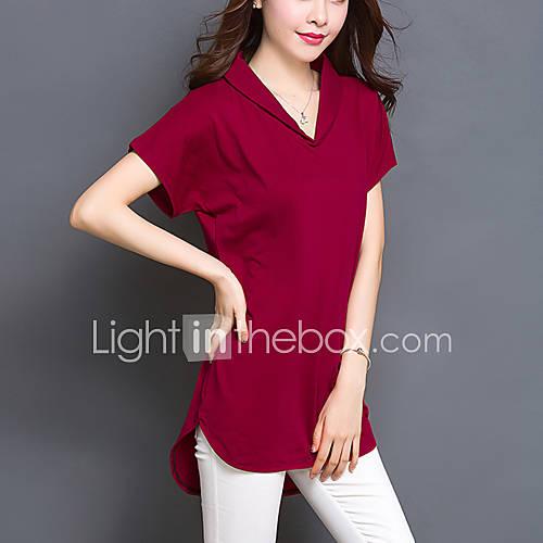 vrouwen-grote-maten-eenvoudig-zomer-t-shirt-casual-dagelijks-effen-v-hals-korte-mouw-rood-zwart-groen-katoen-spandex-dun