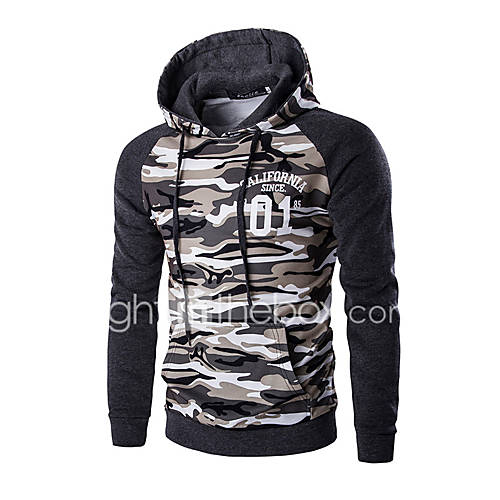 Men's Camouflage Casual / Sport Hoodie  SweatshirtCotton Long Sleeve Brown / Gray