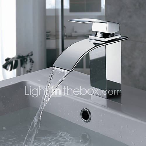 Style Chrome Waterfall Vanity Basin Mixer Faucet Spout Square Brass 5109638 2016