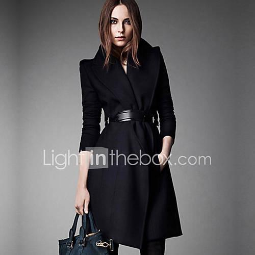 De las mujeres Simple Formal Un Color Abrigo,Cuello Camisero Manga Larga Invierno Lana Azul / Negro Grueso Descuento en Lightinthebox