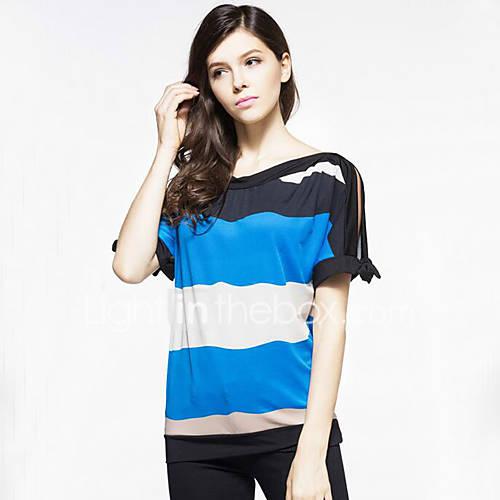Vrouwen Grote maten / Street chic Zomer T-shirt,Uitgaan Gestreept Ronde hals Korte mouw Blauw / Rood / Oranje Polyester Medium