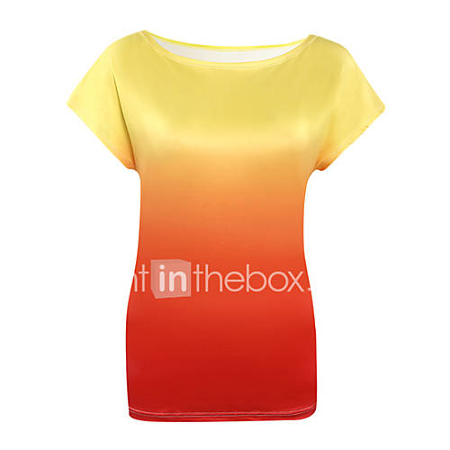 vrouwen-sexy-zomer-t-shirt-uitgaan-print-ronde-hals-korte-mouw-blauw-roze-oranje-polyester-dun