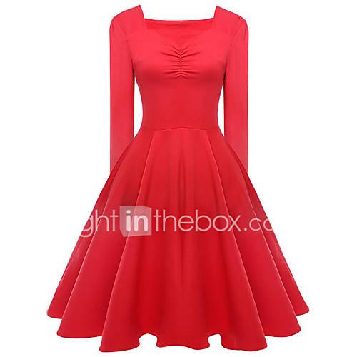 dames-uitgaan-casual-dagelijks-vakantie-vintage-schattig-chinoiserie-schede-jurk-effen-v-hals-tot-de-knie-lange-mouw-rood-zwart