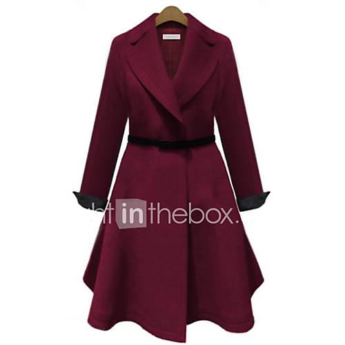vrouwen-eenvoudig-herfst-winter-jas-casual-dagelijks-ingesneden-revers-lange-mouw-blauw-rood-effen-medium-polyester