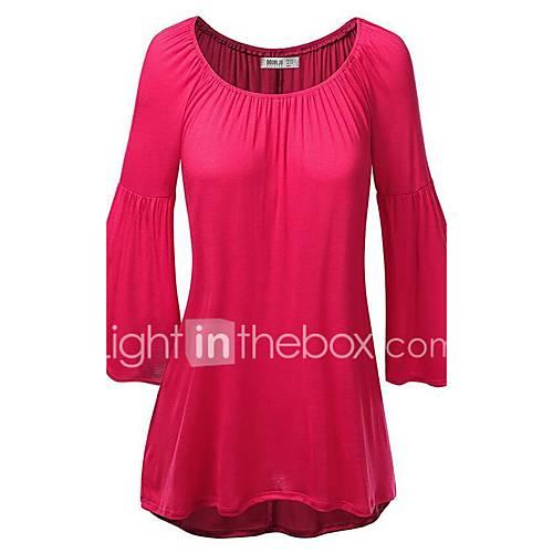 vrouwen-eenvoudig-herfst-t-shirt-casual-dagelijks-effen-ronde-hals-driekwart-mouw-rood-groen-oranje-katoen-medium
