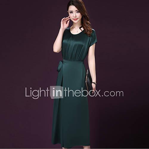 vrouwen-grote-maten-vintage-wijd-uitlopend-jurk-effen-ronde-hals-maxi-korte-mouw-rood-groen-polyester-zomer-herfst