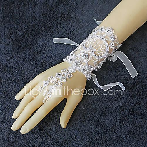 Ivory Wrist Length Fingerless Glove Lace Bridal Glove ... - photo #13